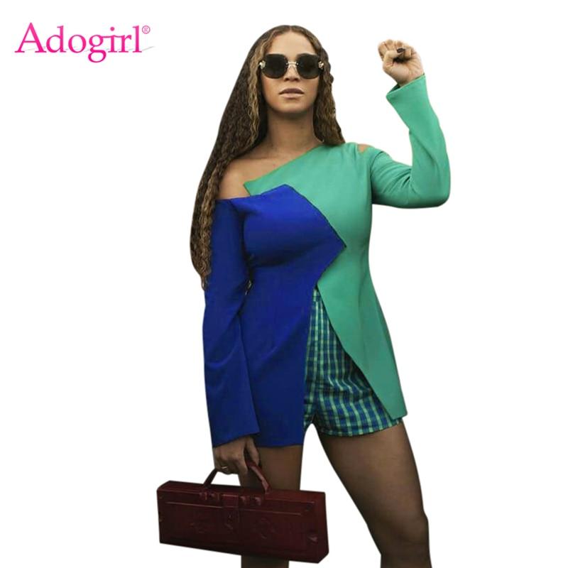 f4b39e12ea45 Adogirl Women Fashion Casual Two Piece Set Color Patchwork Slit Off  Shoulder Long Sleeve T-