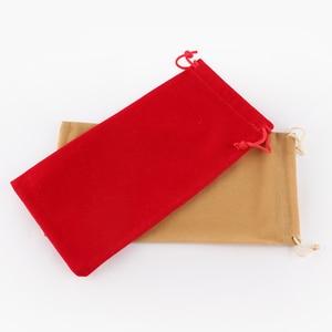 Image 3 - Sac en velours à cordon avec cordon, Rectangle noir/rouge/Rose/bleu/marron sacs demballage pour cadeaux de noël Logo imprimé 50 pièces/lot