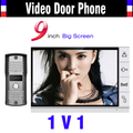 2016 New Big Screen 9 Inch Color Lcd Monitor Video Door Phone Intercom System Night Vision 1 Camera 1 Monitor Doorbell Camera