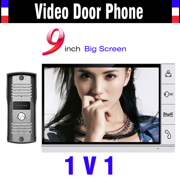 Big Screen 9 Inch Color Lcd Monitor Video Door Phone Intercom System Video Doorbell Night Vision Camera 1 Camera + 1 Monitor usenda manufacture oem 55 inch lcd big screen video wall with 3 5mm bezel for advertising control room