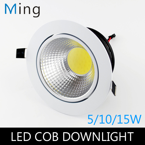 5W / 10W / 15W COB LED Round Ceiling Recessed Downlight Light With White  Exterior Color AC110V And AC220V 3 / 4 / 5in