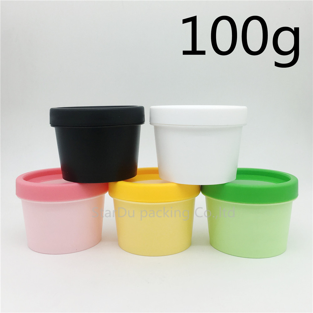 Free Shipping 50pcs 100g plastic mask cream jars powder bottles 100ml gel packaging containers cosmetic case