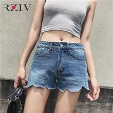 RZIV 2017 летние женские джинсы повседневная pure color wave побочные джинсовые шорты