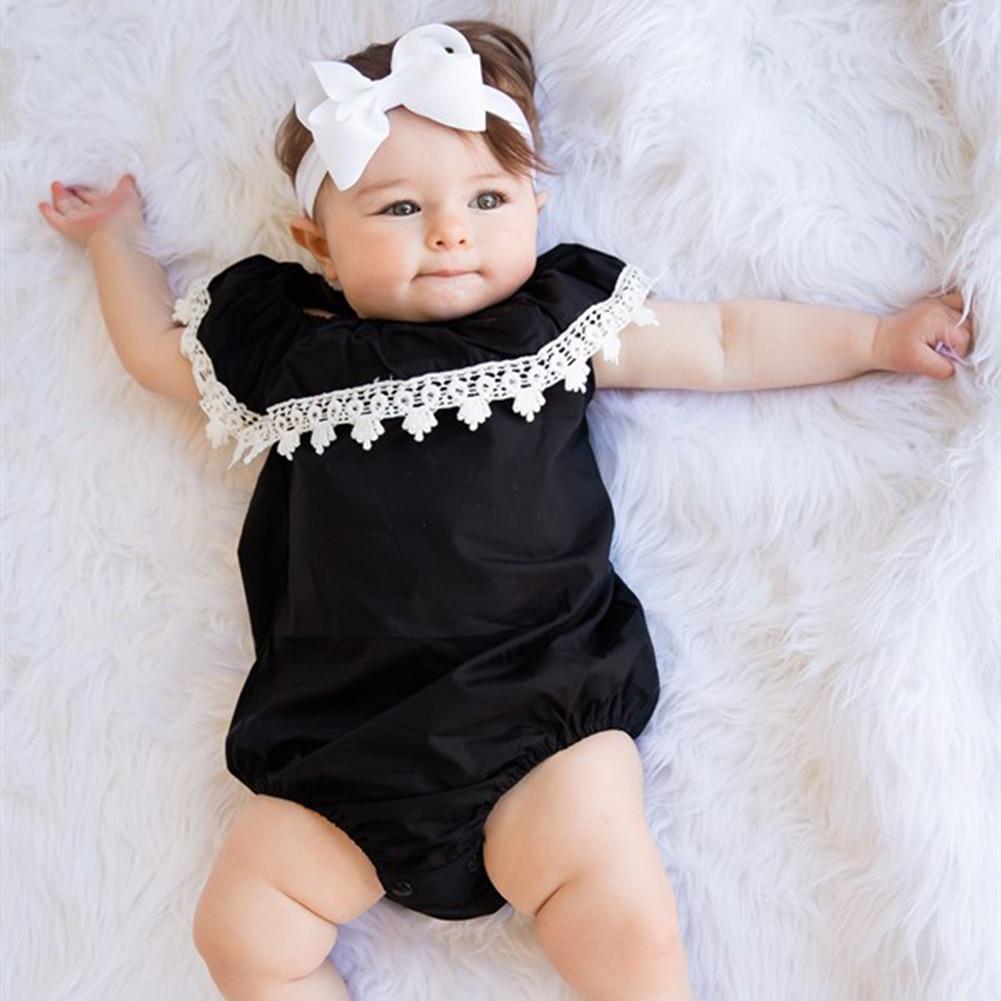 Zomer Babykleding Pasgeboren Baby Baby Meisjes Romper Mode Kant Ruche - Babykleding