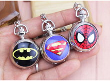 Silver Superman Batman spiderman Pocket Watch with Necklace Chain Fashion Steampunk Quartz Watch Mens Pocket Gifts 10pcs/lot