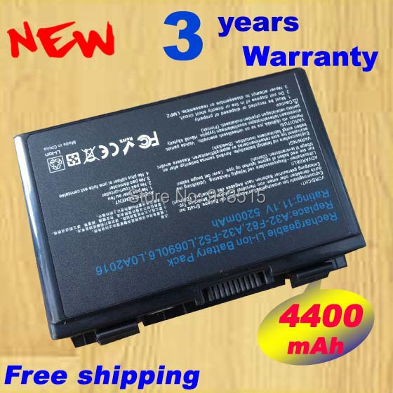 5200mAh 6 cells battery for Asus k50ij k50ab a32 f82 k50id k42j k40in k50in F52 F82 K40 K50 K40E K51 K60 K70 A32-F52 A32-F82