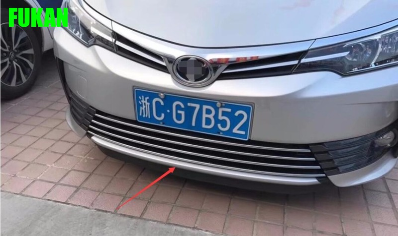 Auto chrome accessories, front bumper trim sticker for toyota corolla 2017, car styling cool color gradient car body garland car waistline styling sticker for toyota corolla avensis and so on