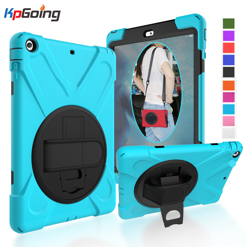 KpGoing Case For iPad Air Case Kids Safe Shockproof Heavy Duty Silicone Hard PC Cover Handle Kickstand Case for iPad Air 1 Funda