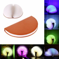 USB Rechargeable LED Folding Book Shape Desk Lamp Creative Colorful Nightlight Booklight With Remote Control For