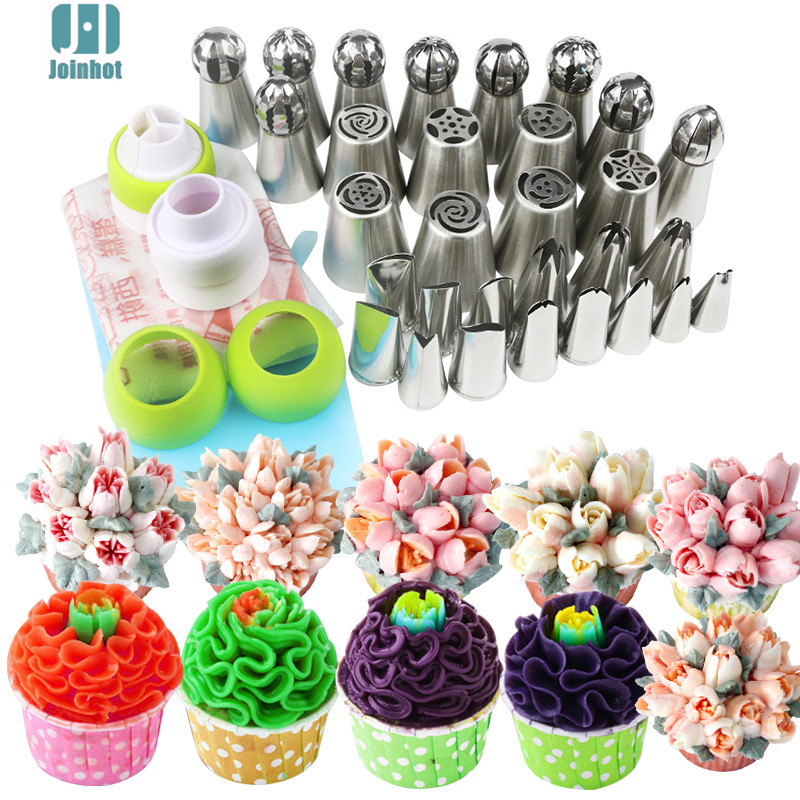 43pcs /set russian nozzles  ball leaves rose tips  and Cake Cream Decorating Disposable Icing Pastry bags three color coupler