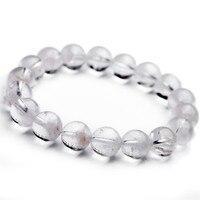 Newly Genuine Natural White Phantom Quartz Crystal Round Beads Bracelet Fashion Women Healing Crystal Charm Bracelet 11.5mm