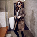 New Long Wool Coat Women Fashion Striped Turn-Down Collar Long Sleeve Casual Single Breasted Blend Trench With Pockets DY149-S