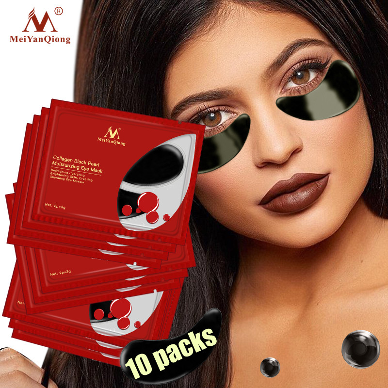 MeiYanQiong Collagen Black Pearl Essence Eye Mask Anti Wrinkle Remove Dark Circle Puffiness Eye Bag Anti Age Bag Eye Patch 10PCS in Creams from Beauty Health
