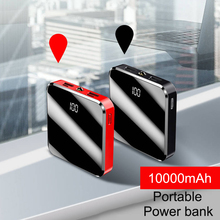 Portable Mini 10000mAh Power Bank Mirror Screen Digital Disply Poverbank External Battery Pack Powerbank for Smart Mobile Phone