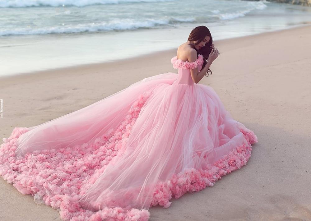 Top Fashion 2017 vestido de Bola Rosa Vestidos de Noche Con Flores por Encargo D
