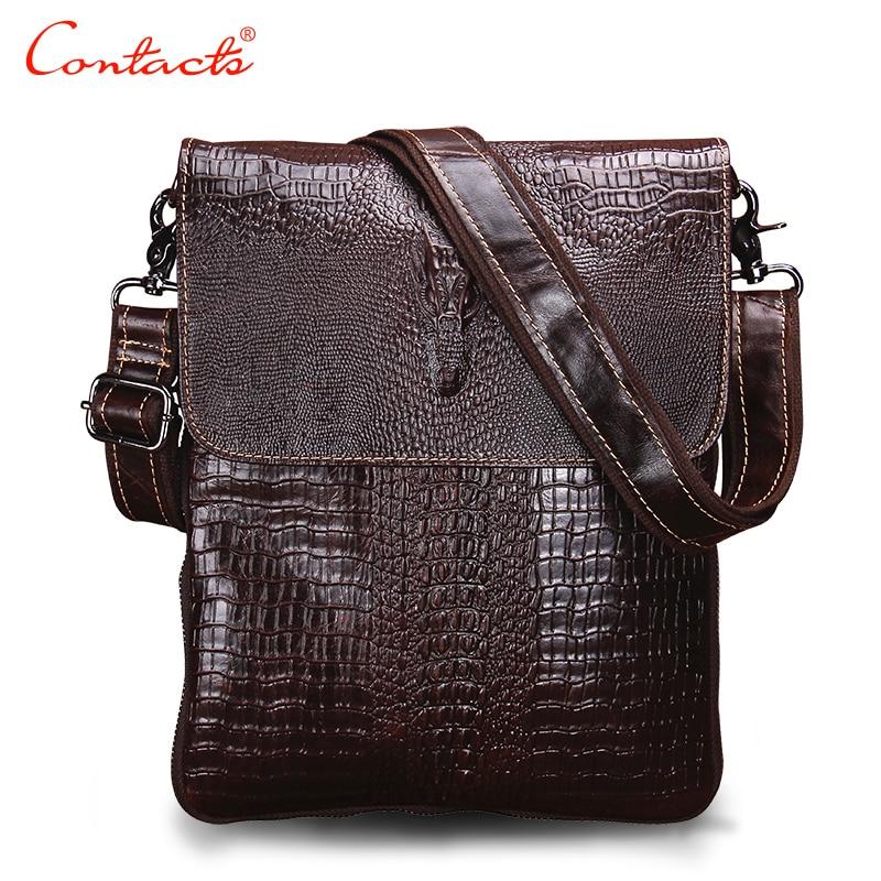 CONTACT'S Fashion Designer Genuine Leather Crossbody Bags For Men High Quality Handmade Crocodile Leather Small Shoulder Bag столяр любитель