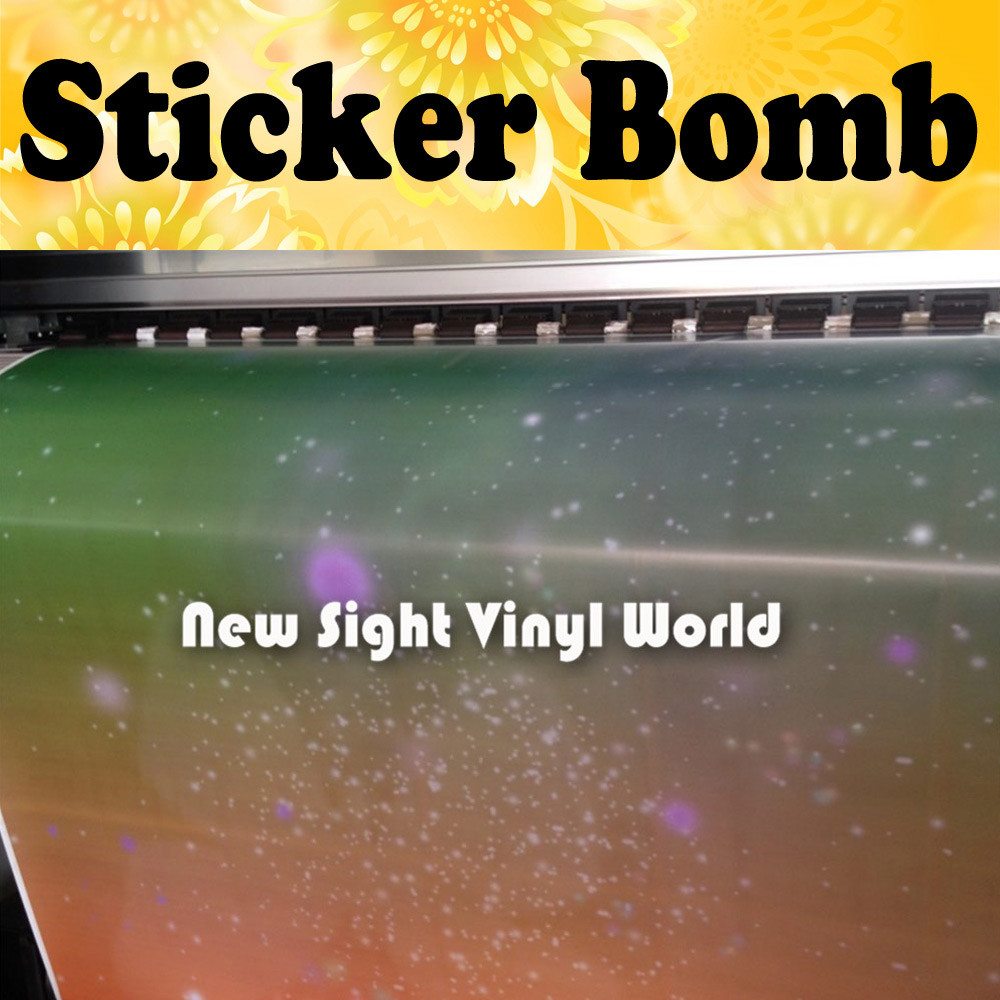 Gradient Color Sticker Bomb Wrap Sticker Bombing Vinyl Film Bubble Free Size:1.50*30m/Roll