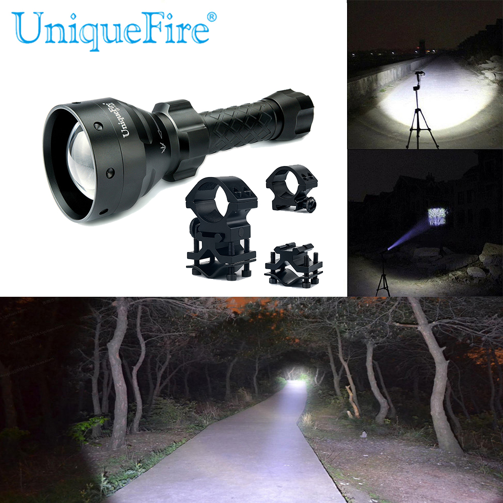 UniqueFire 1405 XPG Upgrade Lantern 18650 Cree LED Torch Rechargeable Flashlight To Hunt (3 Mode) Waterproof+Scope Mount uniquefire uf 1405 cree xpe red white green led flashlight 18650 long distance torch 300 lm rechargeable battery gun mount