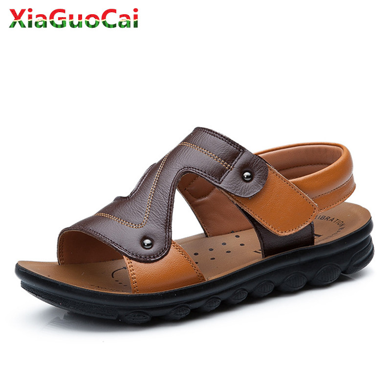 2018 New Summer Children Kids Genuine Cow Leather Sandals Boys Non-slip Soft Bottom Open Toe Beach Casual Shoes Outdoor A34 10