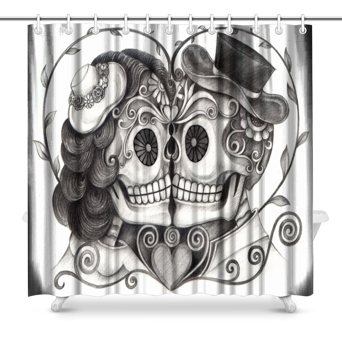 Art Skull Day of the Dead Fabric Shower Curtain Decor with Hooks