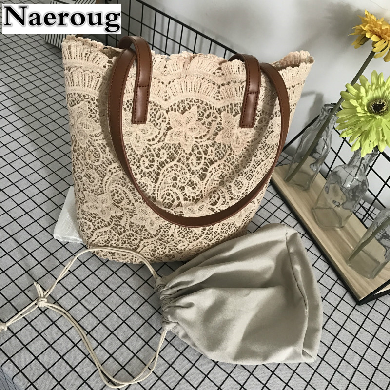 2018 New Summer Hollow Out Lace Wome Shoulder Bag Large Capacity Casual Tote Designer Beautiful Girls Handbag Pochette Sac Femme