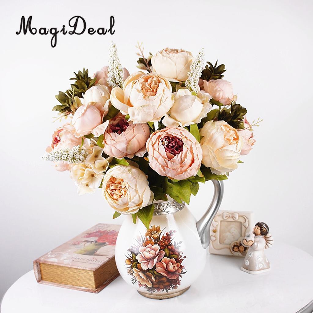 Magideal Beautiful Artificial Peony Flowers Wedding Bouquet Silk