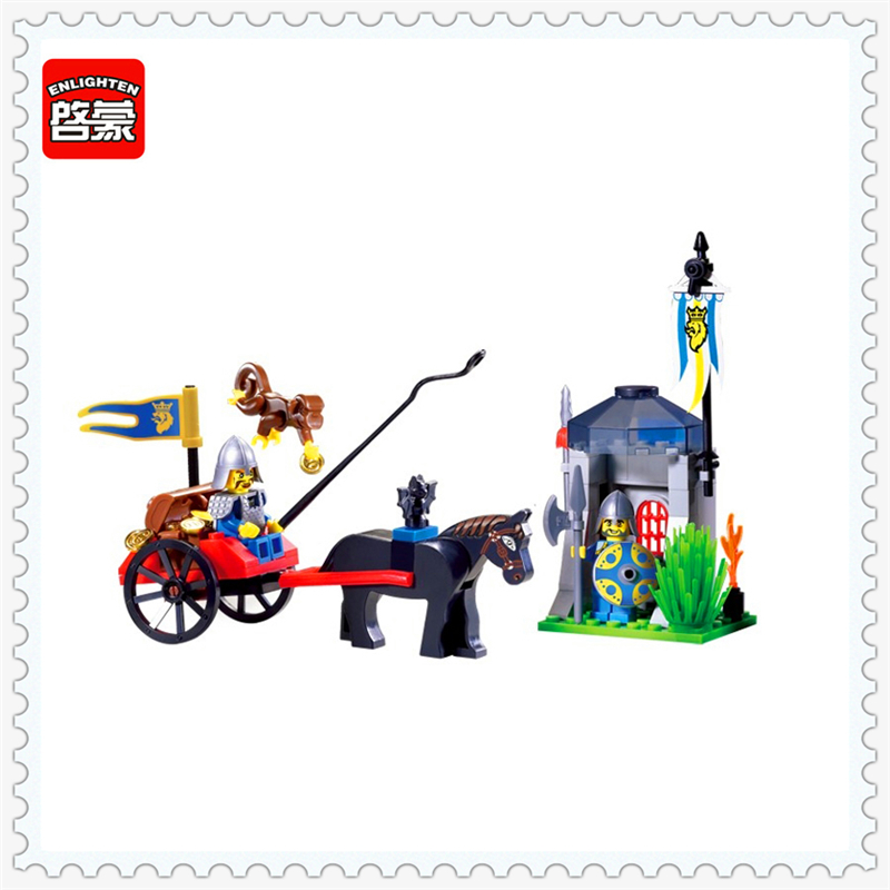 ENLIGHTEN 1016 Knights Castle Carriage Treasure Building Block 84Pcs DIY Educational  Toys For Children Compatible Legoe enlighten 2314 war of glory castle knights shop model building block 368pcs educational toys for children compatible legoe