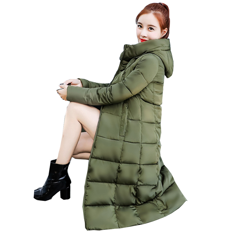 Hot sale 2018 Solid Winter New Fashions Long Thickened Hooded Down   Parka   Winter Jacket Women   Parka