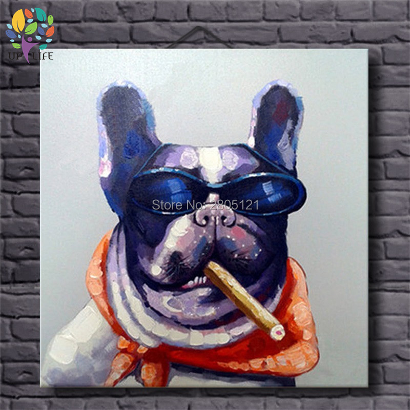 Hand painted cool dog portrait Picture Canvas Oil Painting Home Decor Picture For Bedroom Loft Living room PET POP ART