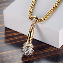 Hip Hop 316L Stainless Steel Gold Color Ice Out Chain Necklace Microphone Pendant Men/Women Rhinestone Best Friend Jewelry(China)
