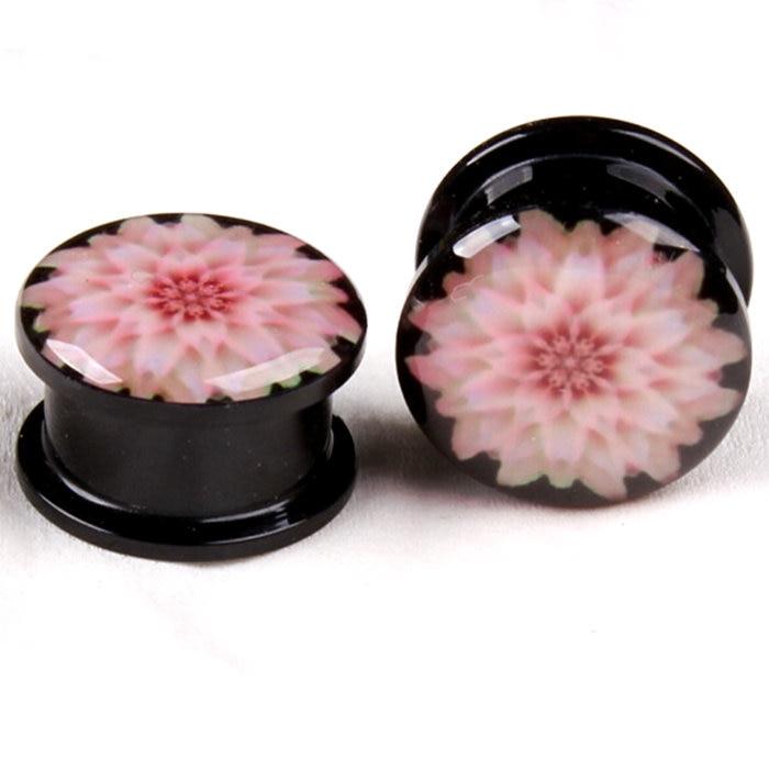 Розовый цветок хризантемы уха Измерительные приборы Вилки и туннели stretcheing Expander, Вилки пирсинг