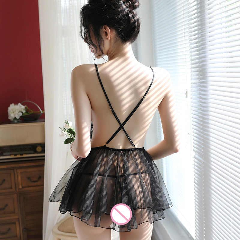 Белая ночная рубашка милой принцессы с крыльями ангела сзади, Devil Kawaii, женское сексуальное нижнее белье, платье, Babydoll, костюмы, интимная одежда