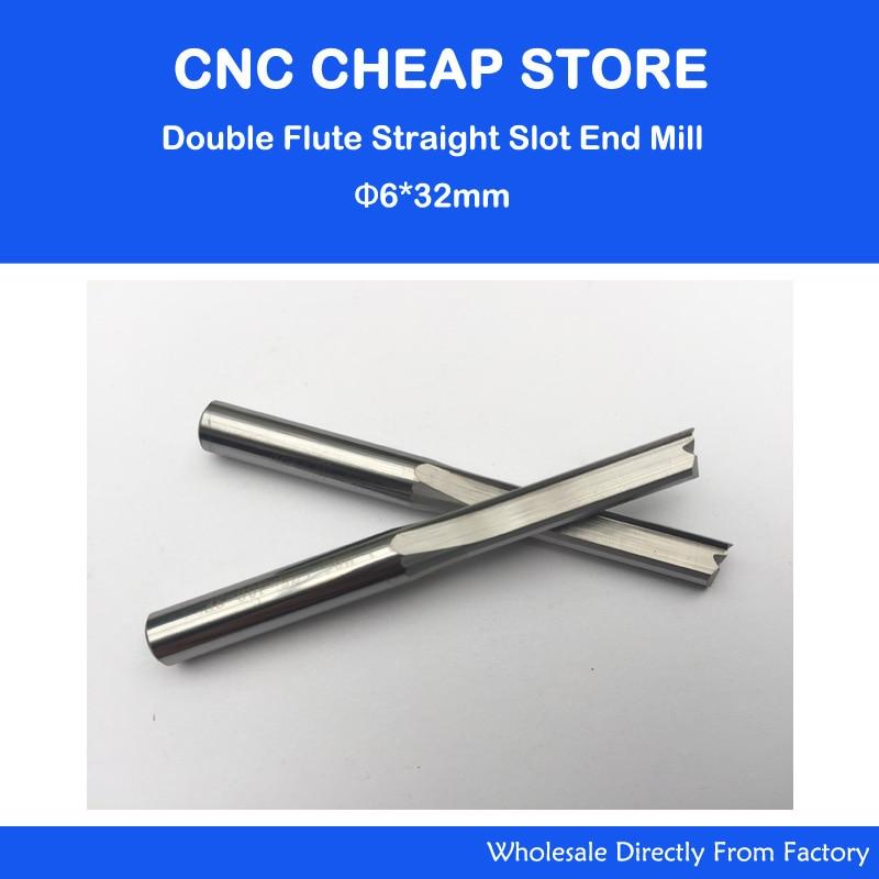 5pcs 6mm * 32mm Straight Slot Bit Wood Cutter CNC Solid Carbide Two Straight Flute Bits CNC Router Bits Cutter