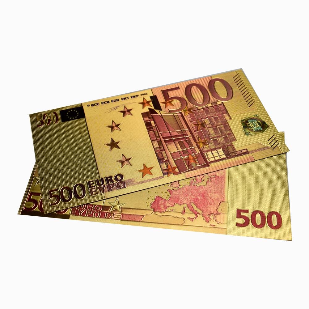Billetes de hoja de oro de 500 Euro impresión colorida dinero falso con sobre para colección