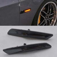 2x F10 style Carbon Trim LED Side marker Turn light signal smoke Lens For BMW E90 E91 E92 E93 E81 E82 E87 E88 X1 X3 E60 E61
