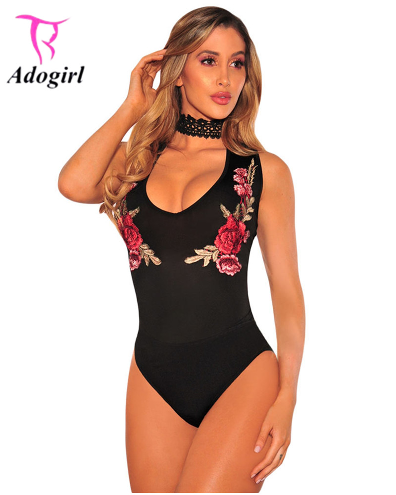 Adogirl 2017 Summer Sexy Black Red Skinny Women Bodysuits Nightclub Wear Sleeveless V Neck Embroidery Appliques Short Jumpsuits