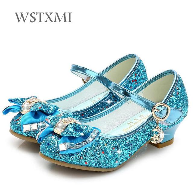 Children Princess Shoes Girls Sequin High Heels Crystal Dress Shoes Fashion Bow Dress Silver Kids Wedding Party Leather Shoes