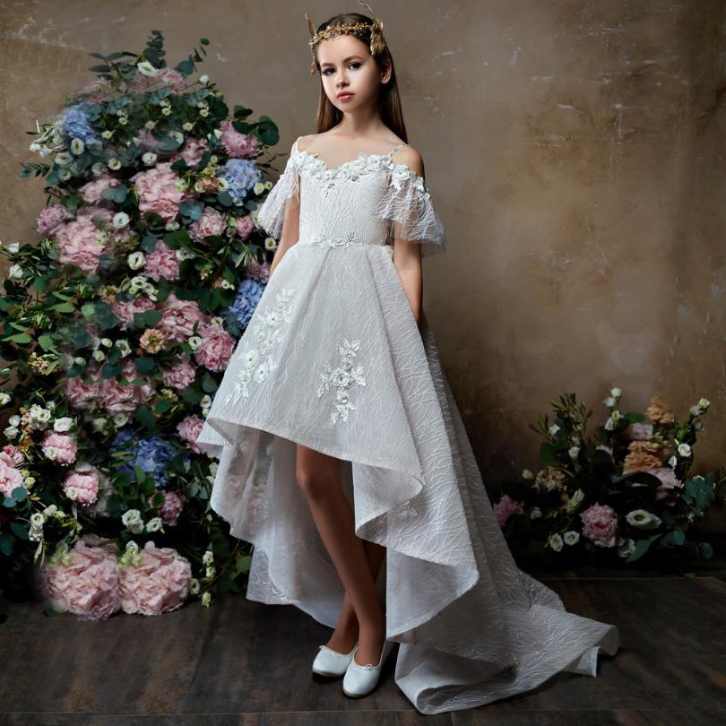 Bébé robe sans épaule Appliques fleur fille queue d'aronde robe enfants adolescents fête princesse robe Pageant anniversaire Costume Y484