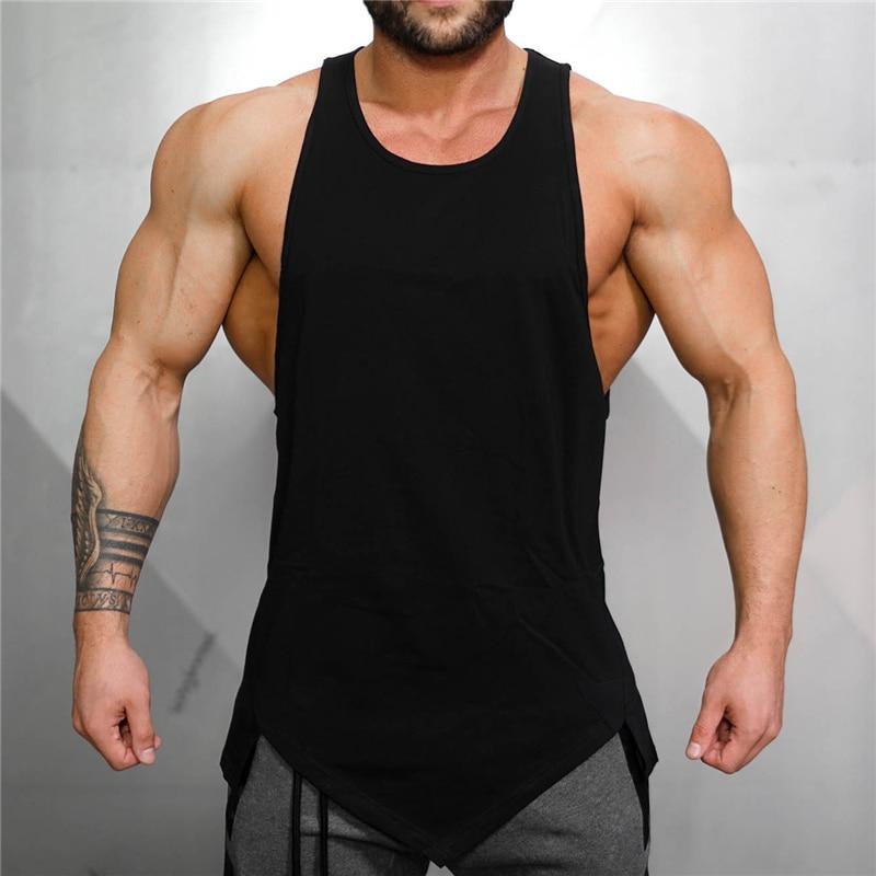 Muscleguys Gym Stringer Clothing Bodybuilding Tank Top Men Fitness Singlet Sleeveless Shirt Solid Cotton Undershirt Muscle