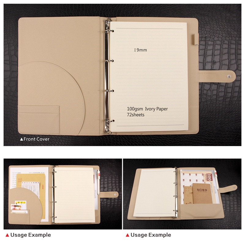 3283f1ff32c A4 PU Leather cover Organizer with 4 ring metal binder LOGO customized  notebooks and journals Agenda planner journal Book -in Notebooks from  Office & School ...