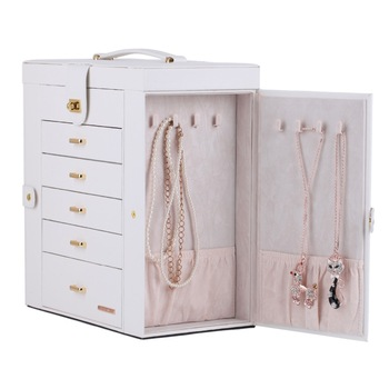 White Large Jewelry Box For Girls Organizer Ring Display Cabinet