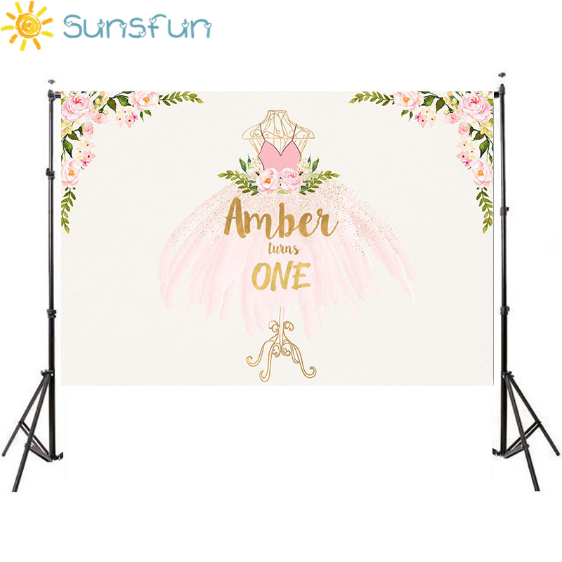 Sunsfun Pink Princess Backdrop Ballet Flower Dress Birthday Photo Backgrounds Customized Photocall Photography For Photo Studio rustica mini noce slate 12 in x 12 in x 8 mm porcelain mosaic tile backsplash images