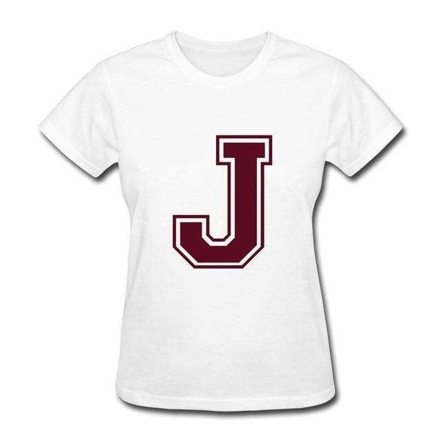 Design Own T Shirts | Regular Tee Woman Letter J Design Own O Neck T Shirts For Womans In