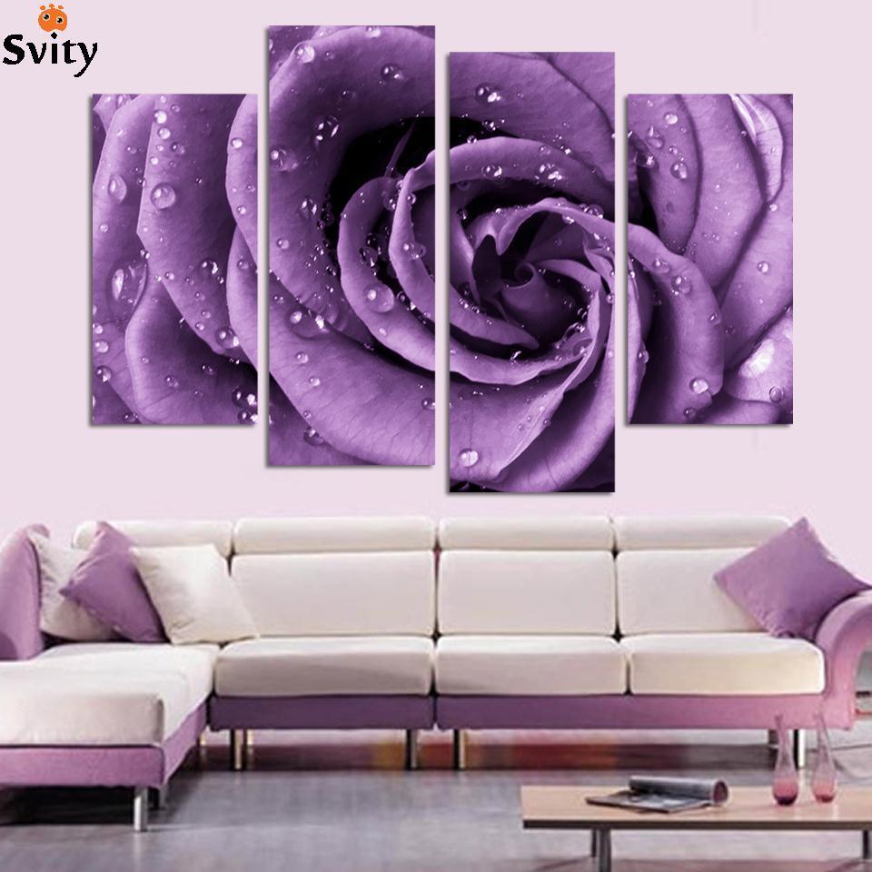 online buy wholesale purple wall art from china purple wall art  - free shipping  piece wall art white purple lover flower big perfect canvas wallart on