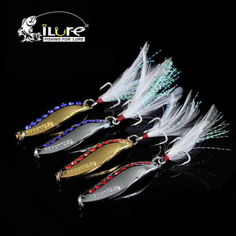 4 pcs/lot fishing spoon baits 7.5g/10.5g/15g/20g Artificial bait metal spinner bait sequins paillette fishing tackle spring hook