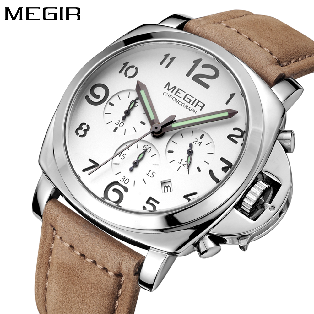 MEGIR Top Luxury brand Quartz watches Men Sports Brand Leather Strap Wrist Watch Luminous Chronograph Relogios