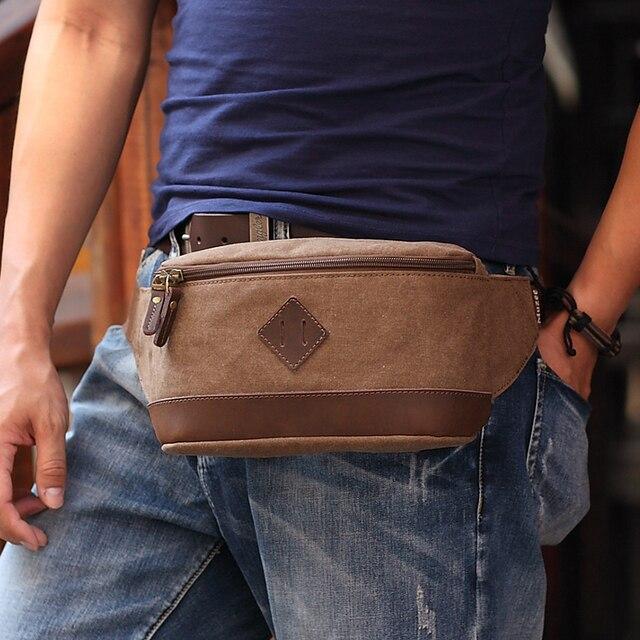 Muzee lona ocasional saco da cintura cinto saco de viagem sacos do mensageiro dos homens do vintage carteira pequena bolsa frete grátis