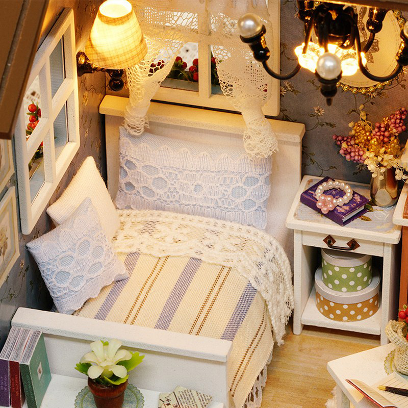 LED Light Miniature Furniture Doll House Dollhouse DIY Kit Wooden House Puzzles Model Toy for Kids Birthday Christmas Gifts (8)