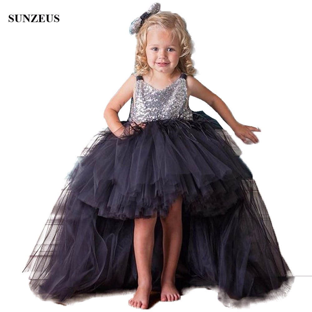 Short Front Long Back Black Tulle   Flower     Girl     Dress   Sparkle Sequins Lace Top Party Gowns With Feathers Puffy   Dresses   FLG010