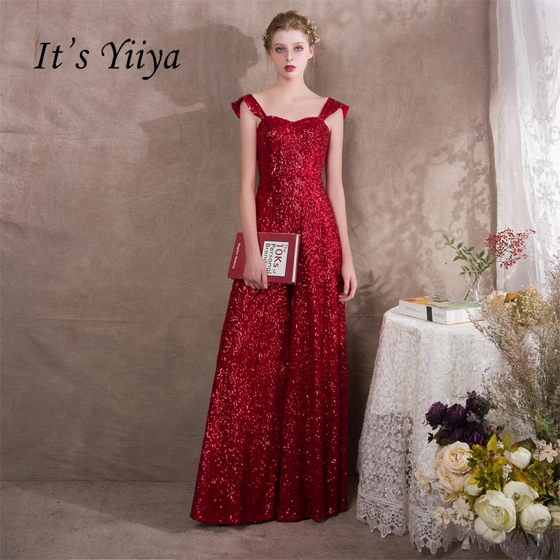 It S Yiiya Red Spaghetti Strap Sequined Zipper Empire Party Dresses Elegant Jumpsuit Formal Pant Suit Evening Dress Pants Nx002